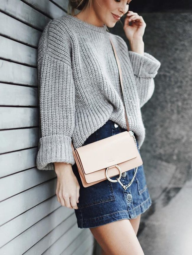 gray cable,knit oversized sweater + jeans skirt + pale