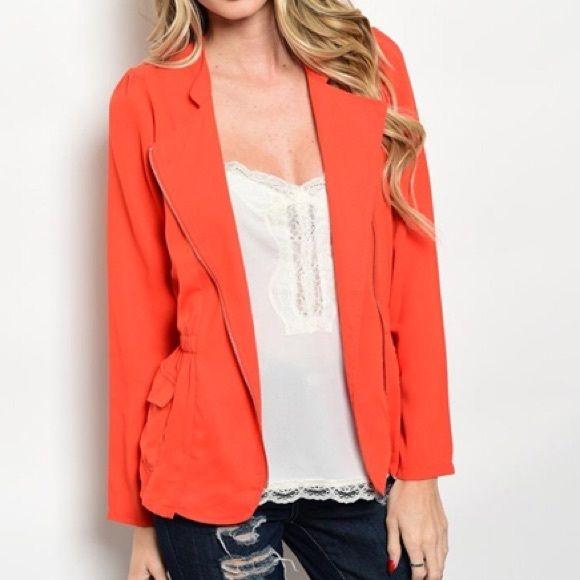 Bright Orange Blazer Jacket Beautiful orange, open front blazer ...