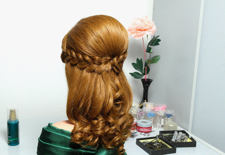 Half up half down braided hairstyle Romantic hairstyle for long hair. Праздничная прическа с двумя ажурными ... H