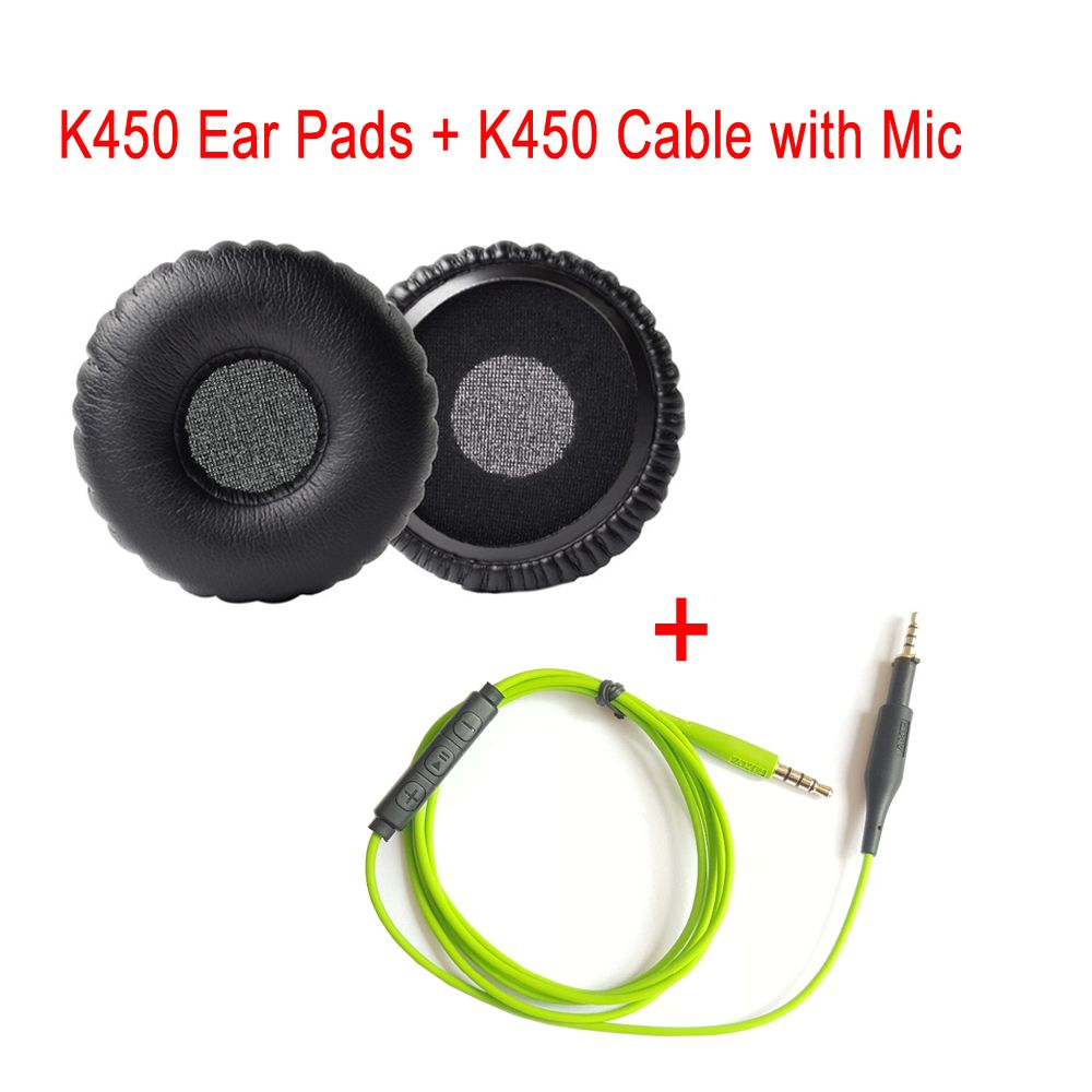 Replacement Ear Pads Earpads Ear Cushions + Adapder Cable with Mic ...