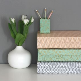 File Boxes Decorative Home Office Ideas  Geometric And Gold Floral Designmagnetic