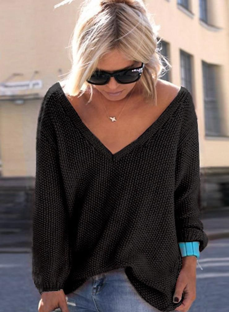 1bf4a2fe1efa Black V Neck Loose Fit Sweater   Fall   Winter Outfit Ideas ...