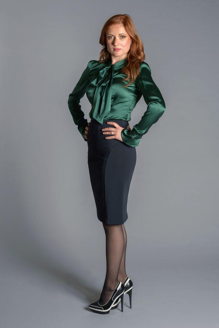 145557d55044e Black Pencil Skirt Green Satin Blouse Sheer Black Pantyhose and Black High  Heels