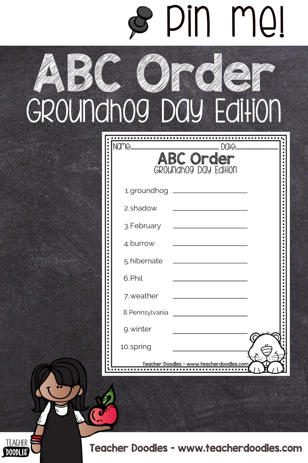 Abc Order Groundhog Day Words In 2021 Valentines Day Words Abc Order Abc [ 1500 x 1000 Pixel ]