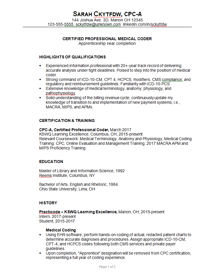 Medical Coder Cover Letter For Resume Ireland Free English Training