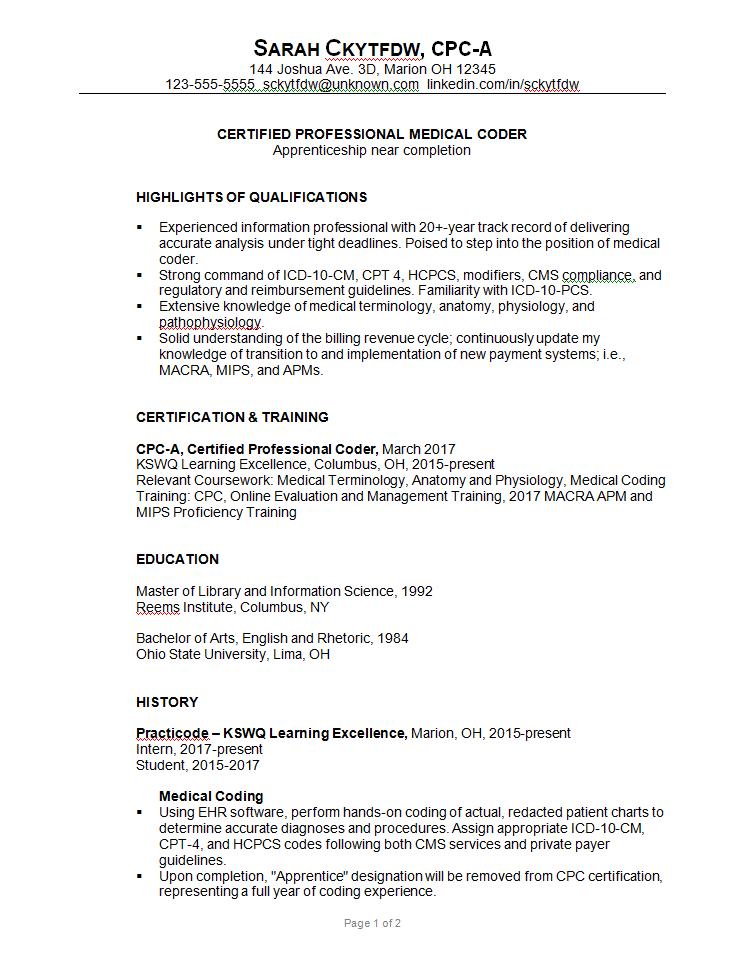 Combination Resume Sample Medical Coder C Susan Ireland 1 Png 743 969 Medical Coder Medical Coder Resume Medical Coding