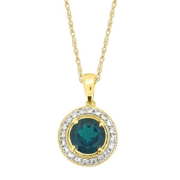 Lab created emerald white sapphire halo pendant in 10k yellow gold lab created emerald white sapphire halo pendant in 10k yellow gold mozeypictures Image collections