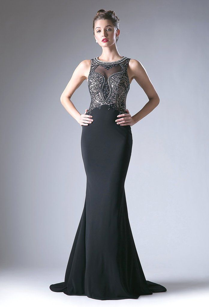 Sleeveless Long Beaded-Illusion-Bodice Prom Dress   Prom