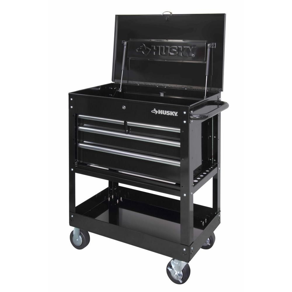 Husky 33 in. 4-Drawer Mechanics Tool Utility Cart in Black ...