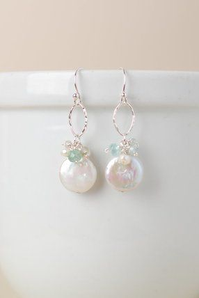 4f66bcc2ac0c Unique handmade freshwater pearl cluster dangle earrings for women