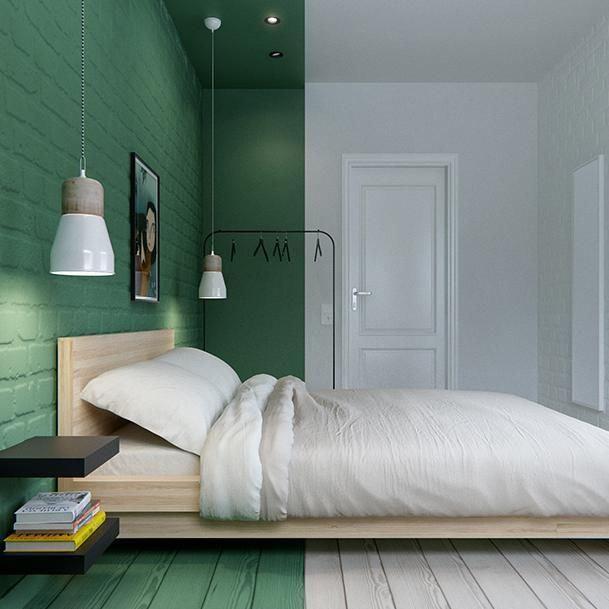 Half green Bedrooms Pinterest Tete de, En-tête et Vert