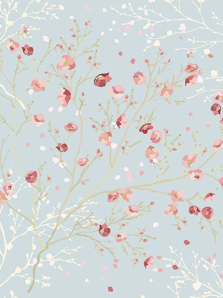 Blue White Pink Petals IPad Mini Resolution 768 X 1024