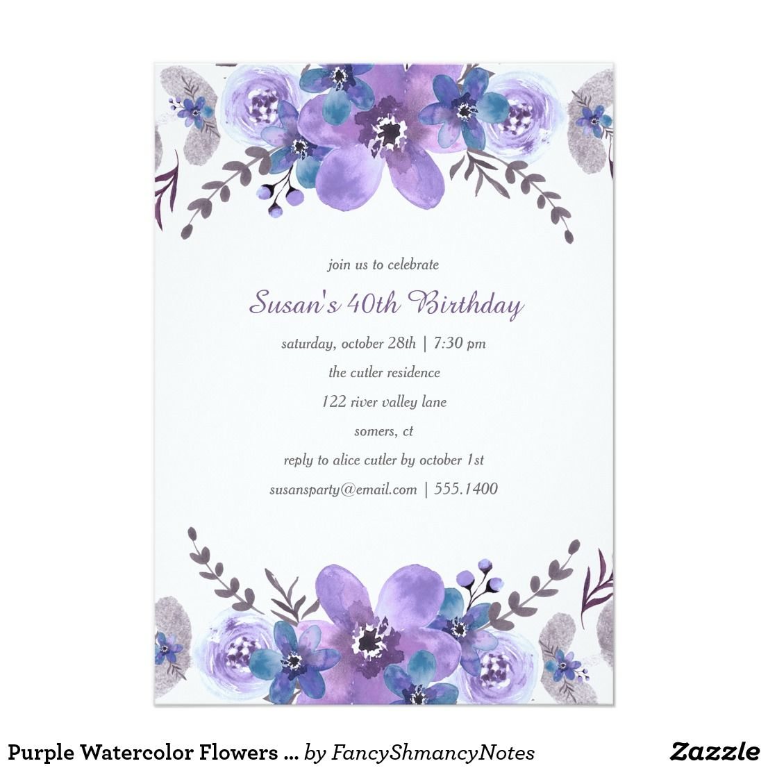 Purple watercolor flowers birthday invitation wedding purple watercolor flowers birthday invitation beautiful purple flowers with a hint of blue and silver make this invitation so pretty izmirmasajfo