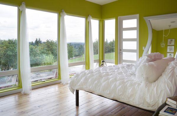 coole schlafzimmer farbpalette akzente kontrast zwischen grün und