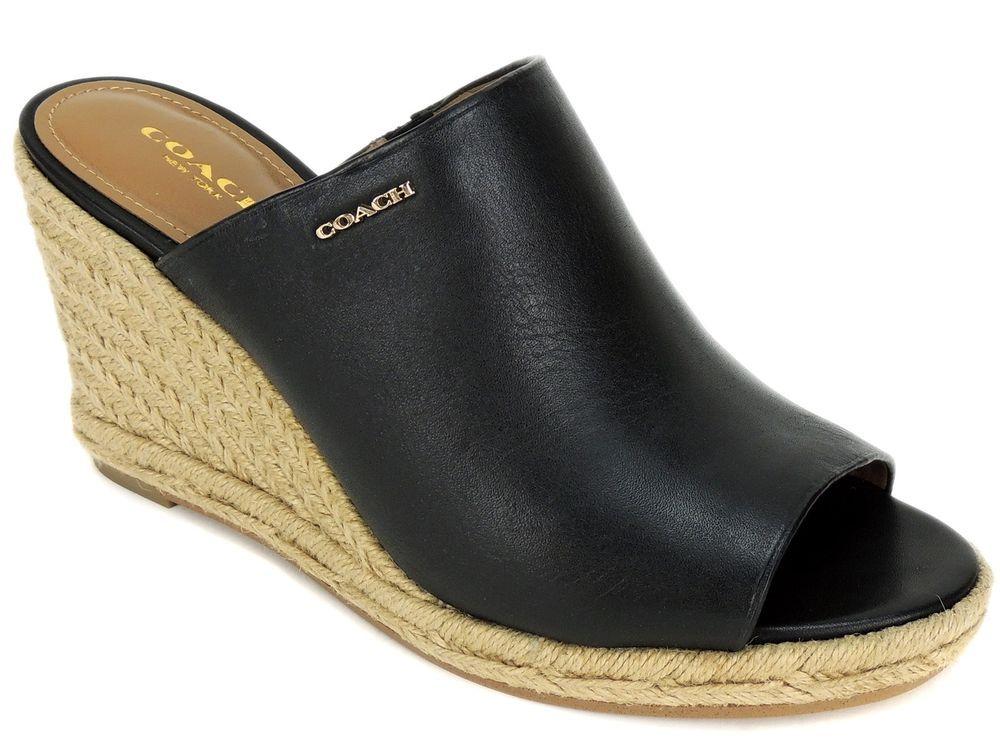1adf8ff25f4 Coach Women's Gayle Wedge Sandals Black Leather Espadrille Slides ...
