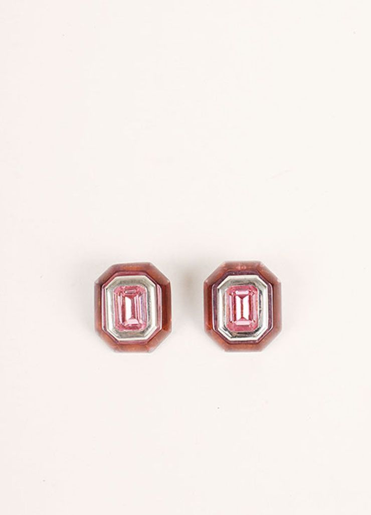 Pink and Silver Toned Jewel Embellished Stud Earrings