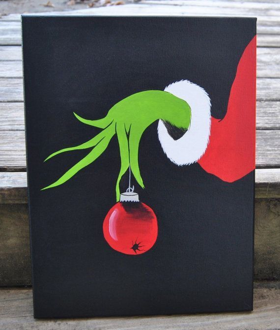 Christmas Grinch Canvas Painting Artwork Display Kids Bedroom Living Room Xmas Decor Holiday By VonettesArtwork On Etsy