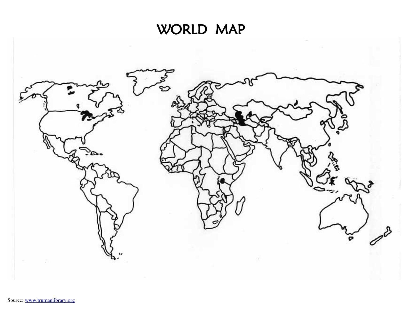 Free Printable Blank World Map Worksheet 7 In