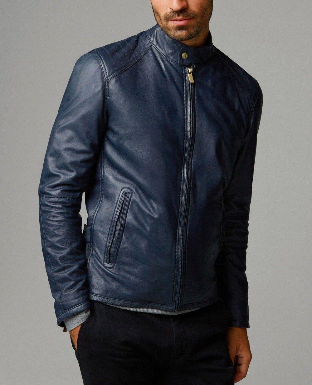 Navy Blue Leather Jacket For Men R1 2278 Men Fashion Leather