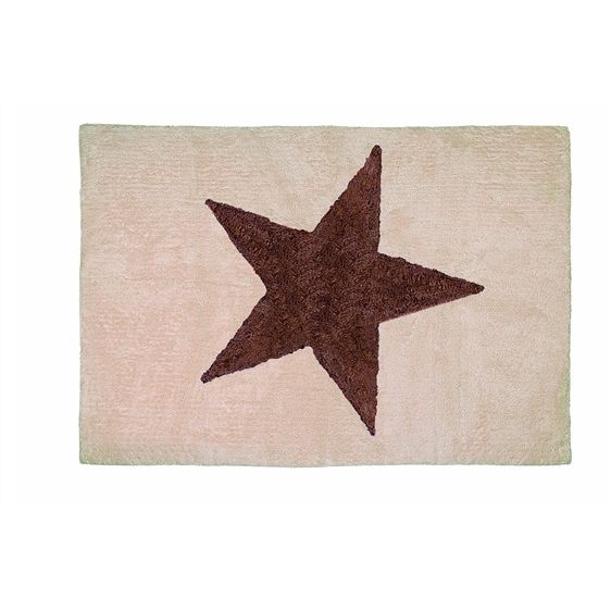 Alfombra Infantil Estrella Beige Marron Lavable En Lavadora