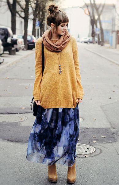 Long sweater over floaty skirt