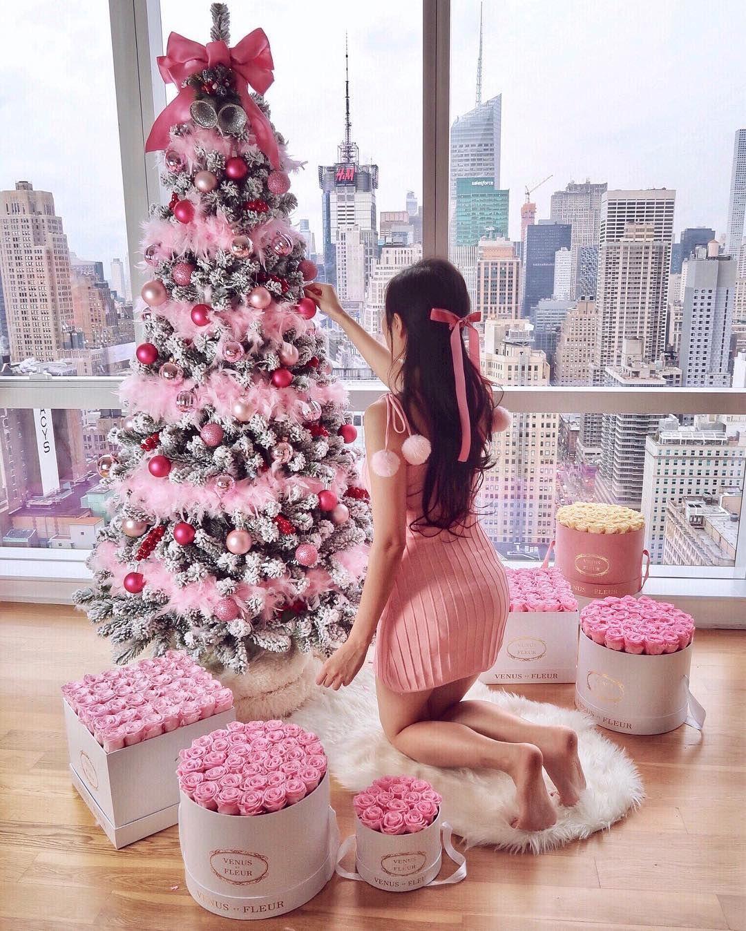 Instagram ofleatherandlace pink christmas tree christmas tree