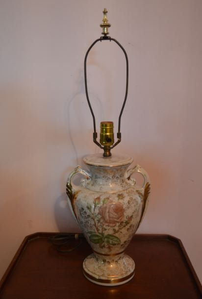 Vintage Rose Porcelain With Gold Handle Table Lamp Gold Handles Lamp Painting Lamps