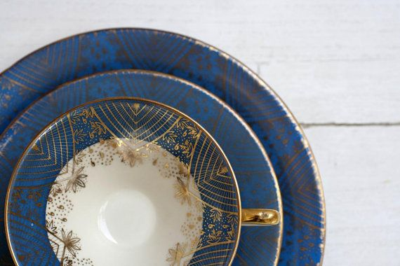Tea Cup and Saucer Trio Set Blue and Gold by CirceCollectables