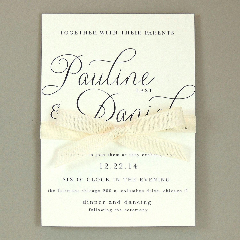 Beautiful Wedding Invitations Modern Elegant Classic And Simple Calligraphy Script Wedding Invitation Paulina Suite Wedding Invitations Elegant Modern Wedding Invitation Samples Wedding Invitation Wording