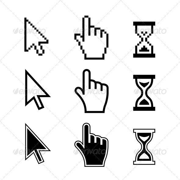 Pixel Cursors Icons  #Hand Arrow Hourglass - #Web Elements Vectors