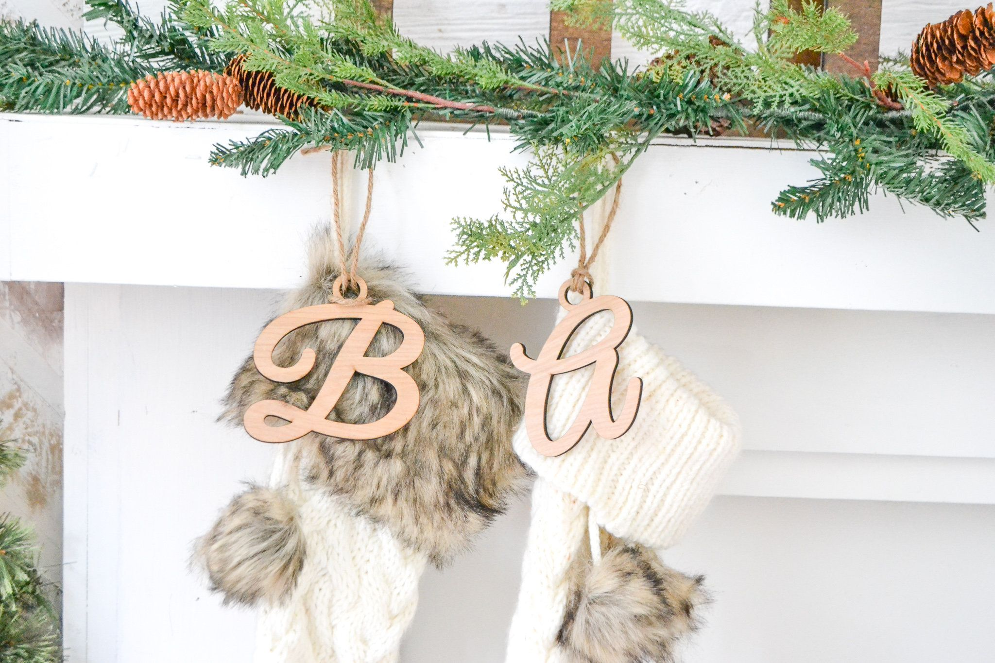 Initial Letter Stocking Name Tags