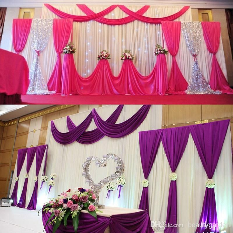 Wedding Party Background Fabric Satin Curtain Drape Stage Wall Podium Backdrop Wd601