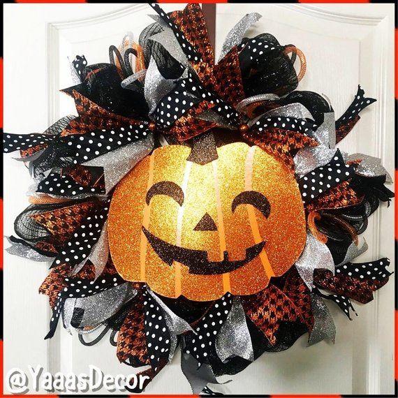 Vintage Halloween Decor Pumpkin Wreath Glitter Pumpkin