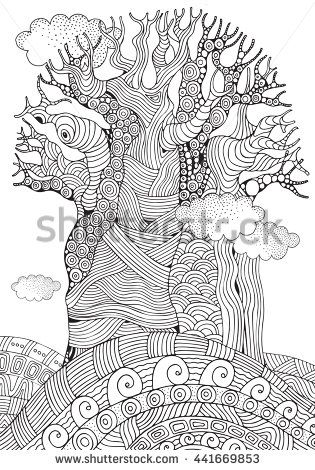Baobab Tree African Tree Coloring Book Page For Adult And