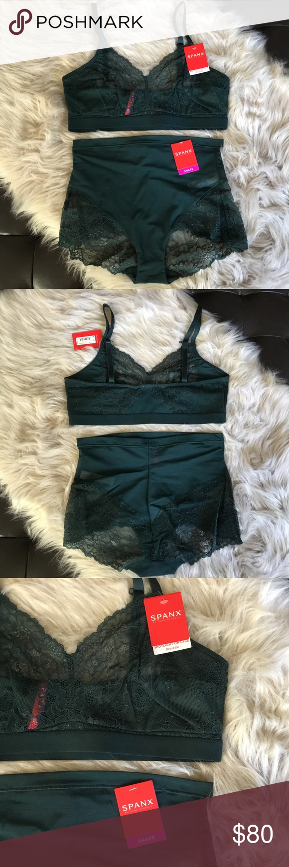 c8b188e968b Spanx Lace Bralette   Panty Set Size Large Green New With Tags - Spanx  Spotlight On
