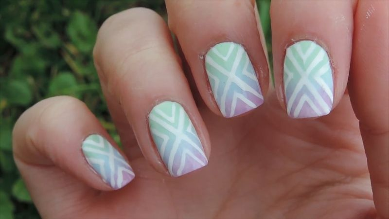 In This Nail Art Lesson Try Out Pastel X Shape Nail Designs Two