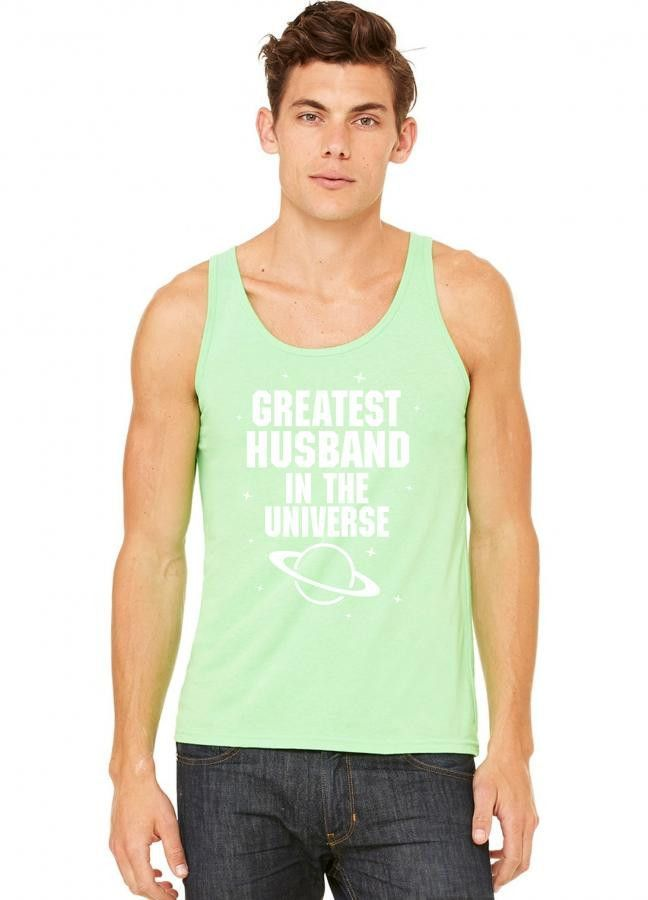 greatest husband in the universe white print tank top