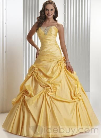 Luxurious Taffeta Sweetheart Sleeveless Floor-length Daffodil Prom Dresses FL34