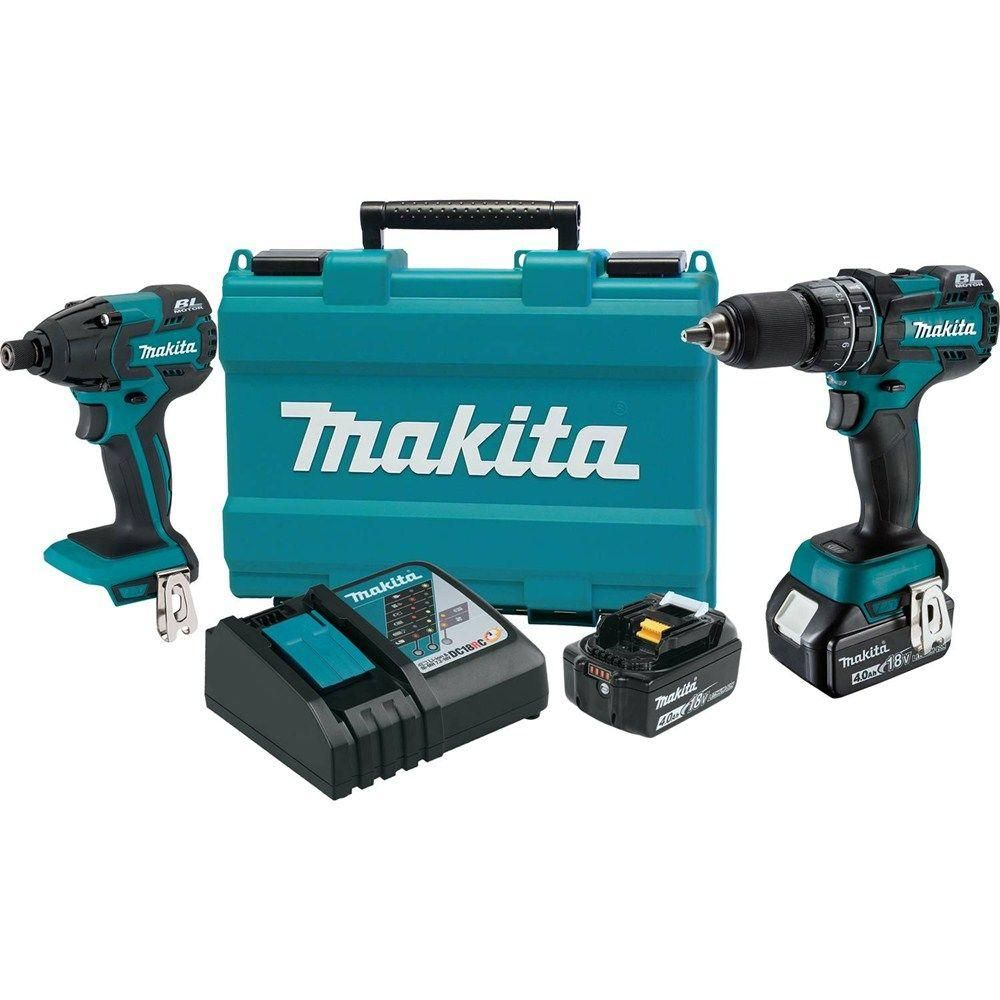 Makita 18 Volt Lxt Lithium Ion Brushless Cordless Hammer Drill Stanley 18v Impact Driver Combo Kit 2 Piece W 40 Ah Batteries Case