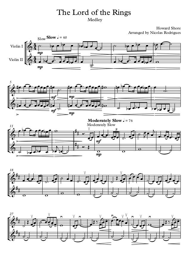 In Dreams Lord Of The Rings Sheet Music Pdf