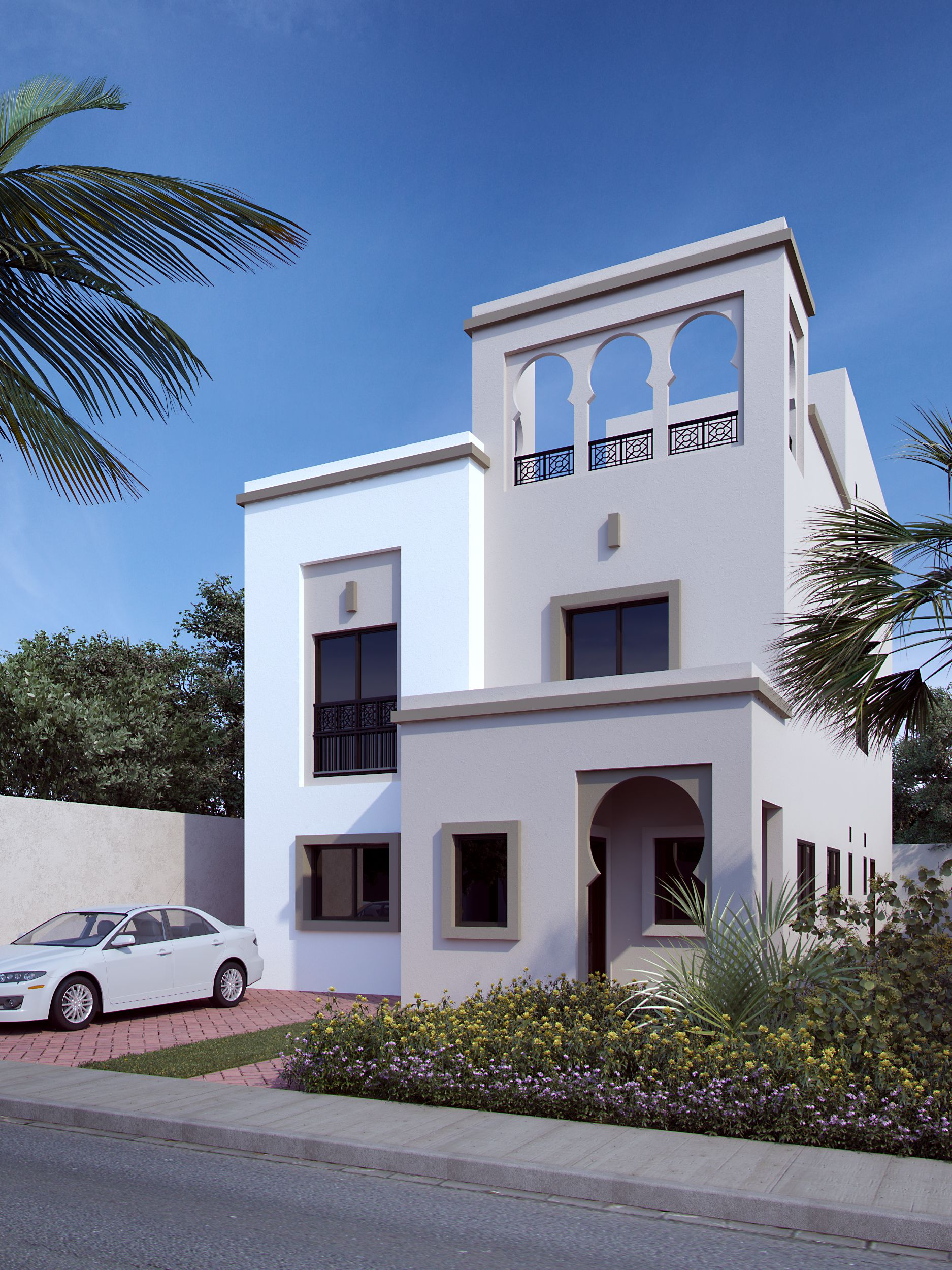 Proposed 3d Rendering Of Arabic Style Villa