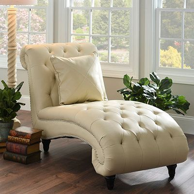 Superbe Cream Leather Chaise Lounge | Kirklands