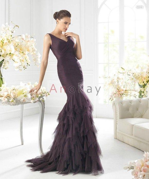 V Ausschnitt Tüll Mermaid Abendkleider PSL1305376 | Abendkleider ...