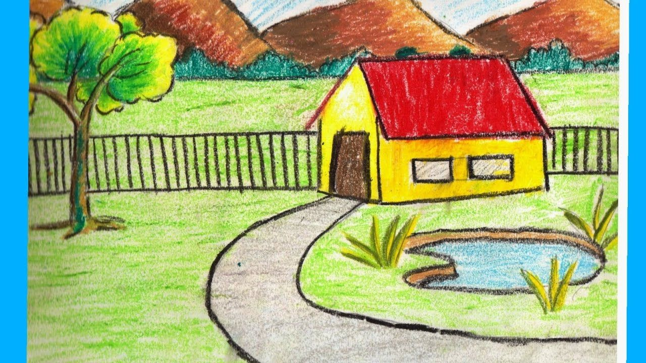 Village Scenery Drawing At Getdrawings Com Free For Personal Use Landscape Drawing Easy Landscape Drawing For Kids Scenery Drawing For Kids