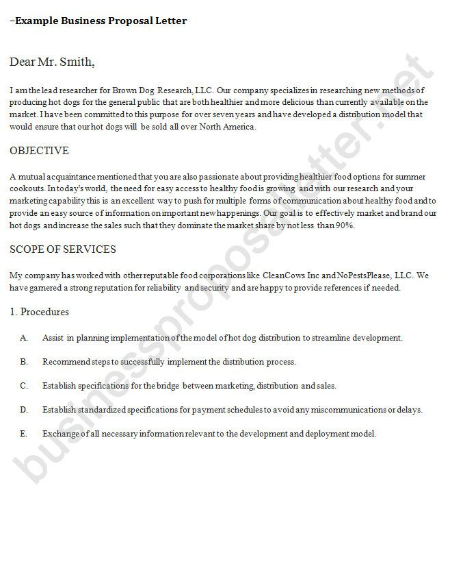 Business Proposal Letter Example 1 http\/\/www - Business Proposal Letter Format