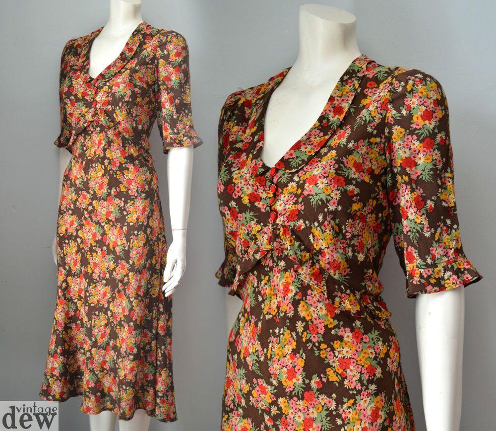 02344191428 CATH KIDSTON original tea dress 1940 S vintage WW2 LAND GIRL floral 14 RARE!