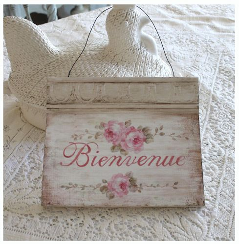 Bienvenue - French Welcome Sign $48 ~ Debi Coules Romantic Art