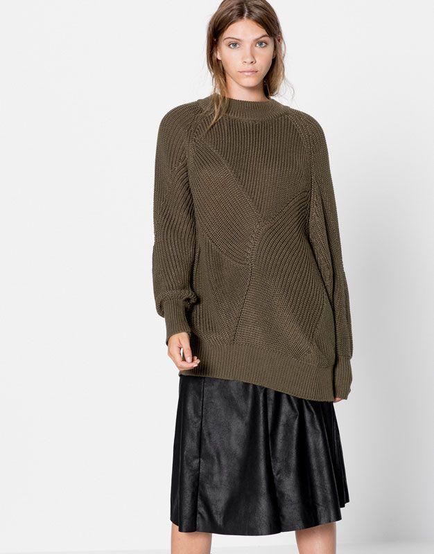 Pull&Bear - woman - clothing - cardigans & sweaters - oversized sweater - khaki - 09558315-I2016