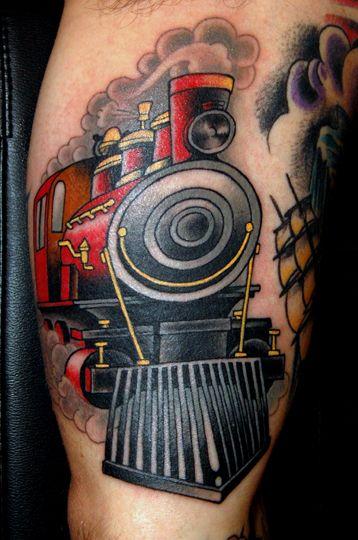 Traditional Locomotive Train Tattoo
