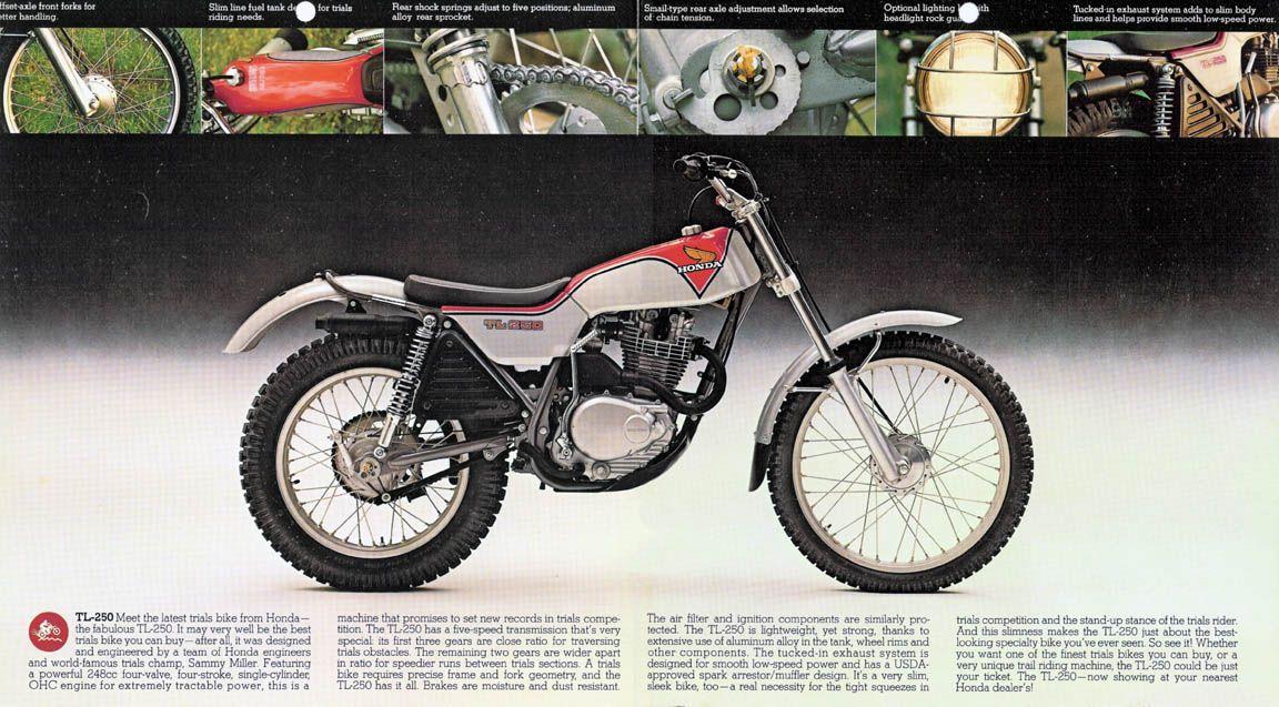 honda tl 250 trial motos cl sicas de los 70 80 y 90 stock bikes rh pinterest com 2011 Honda Trail Bike 1976 Honda Xl125